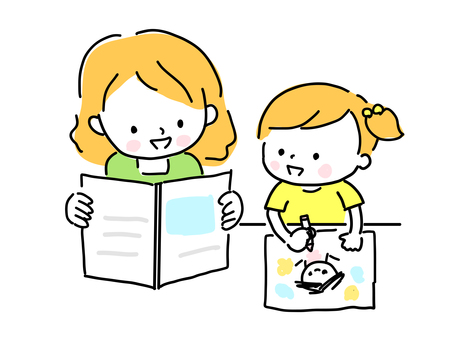 A child doing drawing and a mom reading a book