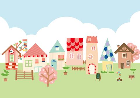 Scandinavian style town illustration