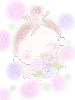 Hydrangea and girls