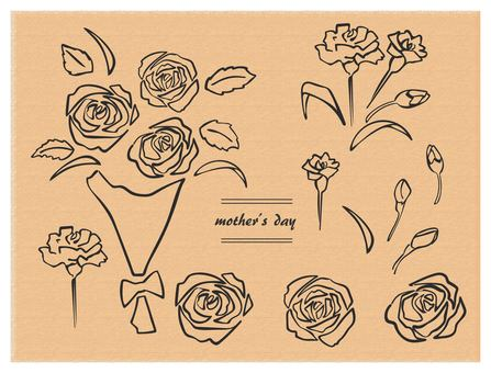 Hand drawn mother's day 2 set black line bouquet