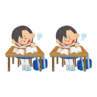 Female student (dozing) set
