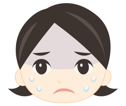 Female face with bad physical condition (cold sweat)