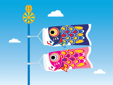 Two cute carp streamers swimming in the sky 04