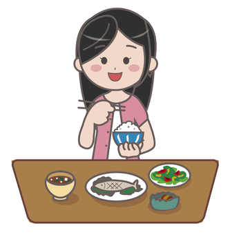 Illustration of a woman eating rice