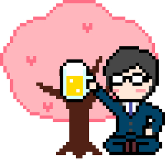 Dot picture of office worker drinking alcohol at cherry blossom viewing