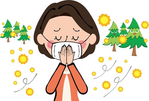 Measures against hay fever Gauze mask suppressed lady female