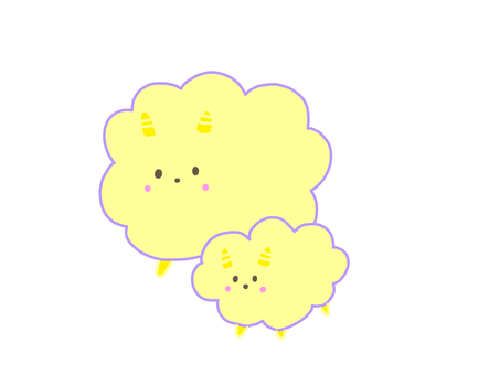 Yellow parent and child sheep