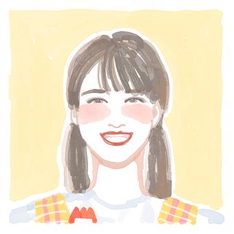 Stylish Watercolor Woman Illustration Icon