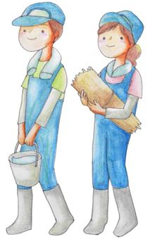 Men and women working at a ranch