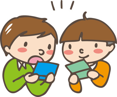 Two people playing mobile games