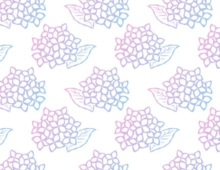 和風のあじさいのパターン_グラデーション