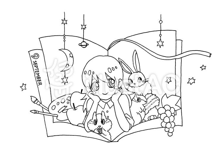 9月 ぬりえイラスト No 1195269無料イラストならイラストac
