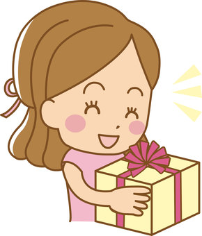 A woman receiving a present