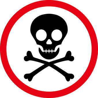 Dangerous caution mark (red & white circle)