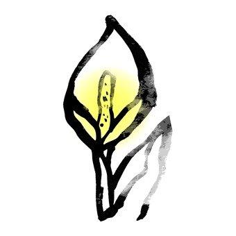 水墨畫,水芭蕉,黃色