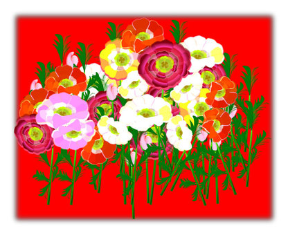 Flower 02 background red