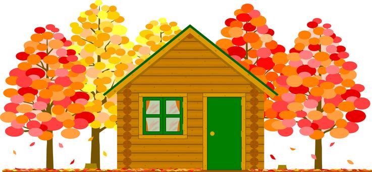 Autumn forest log house