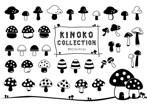 Mushroom silhouette collection
