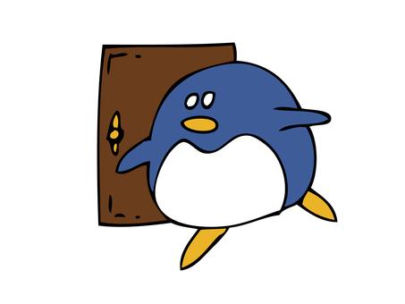 Penguin standing near door