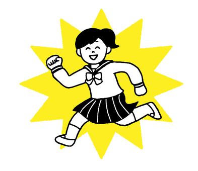 Energetic female student (simple)