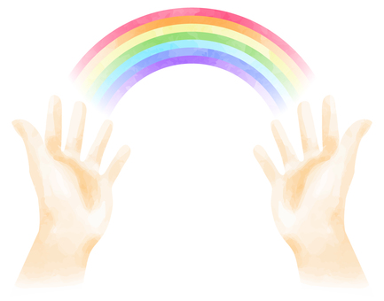 Rainbow image on the palm