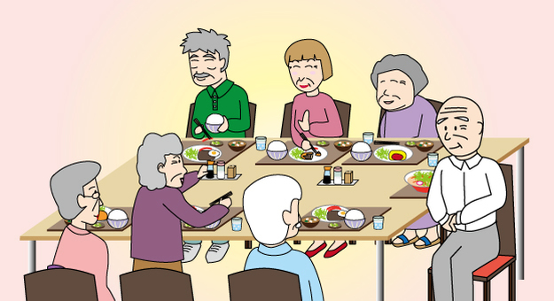 Old elderly elderly dinner party