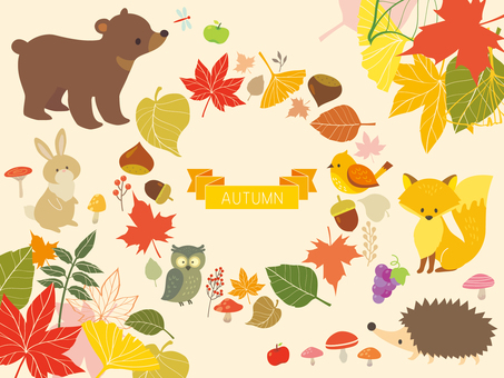 Autumn leaves frame and animal illustration (2)