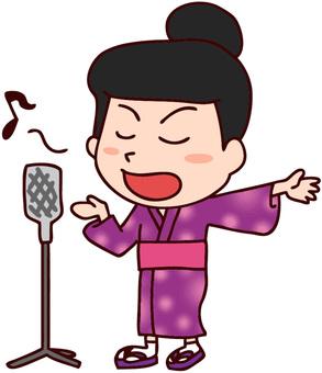A woman singing a folk song