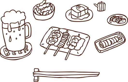 Beer and snack set drawing