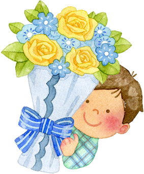 A boy with a blue flower bouquet
