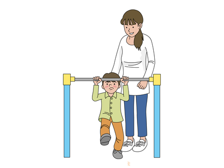 Mother and son who practices steel bar