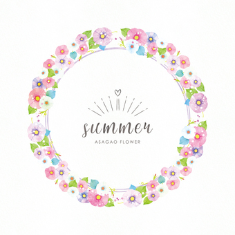 Summer background frame 076 morning glory watercolor circle