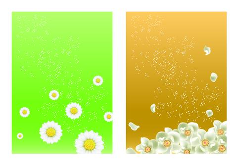 반짝이 배경에 흰 꽃