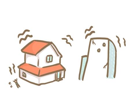 地震時的插圖