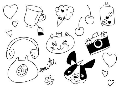 Hand-drawn illustrations monochrome