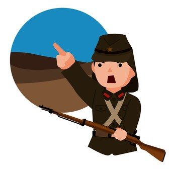 Pointing Japanese soldier