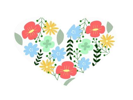 Northern European style heart flower illustration
