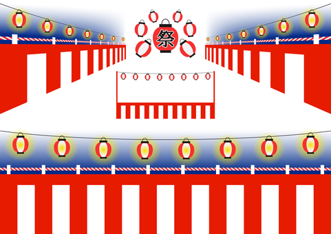 Red and white curtains and festive lanterns set