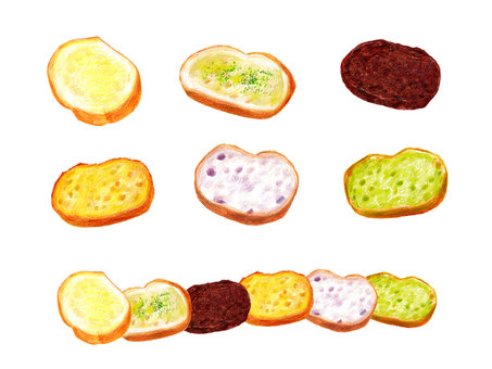 Rusk set (color pencil drawing)