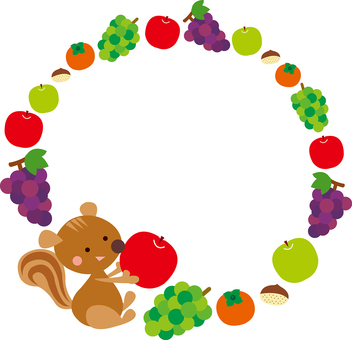 Simple squirrel and fall fruit circular frame