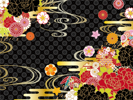 Japanese Pattern Background (Black) 03