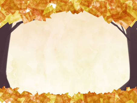 Autumn leaves frame water beige watercolor picture style
