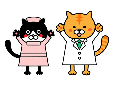 A cat's doctor and a cat nurse