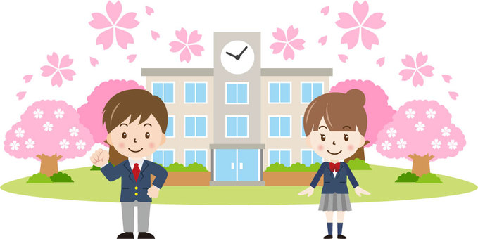 Cherry blossom school building and students