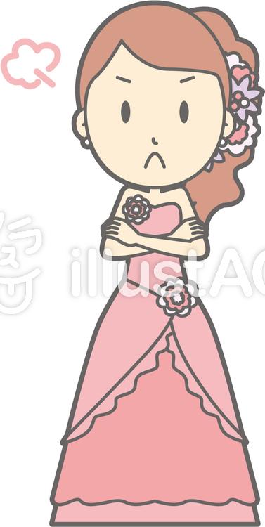 新婦ピンク-怒る-全身のイラスト