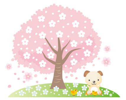 꽃놀이를하는 강아지와 병아리