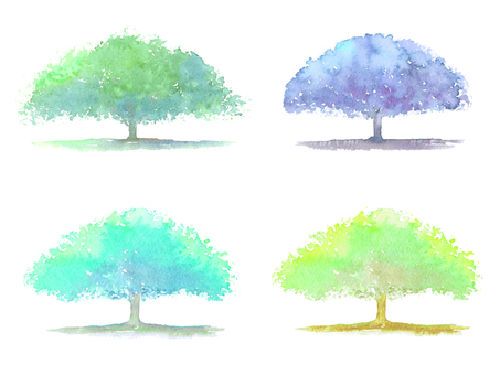 Set of big neon woods painted with watercolors