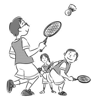 三人羽毛球(成人單色)