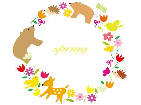 Spring animal flower frame