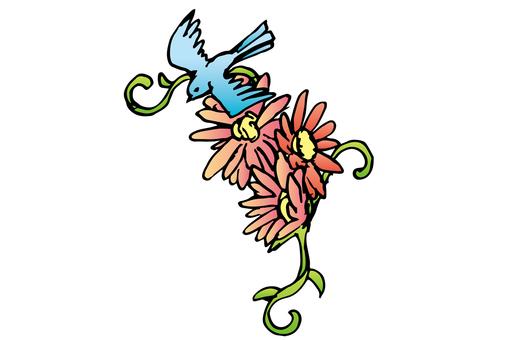 작은 새와 꽃 01